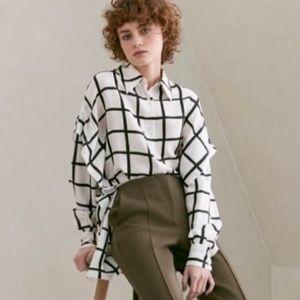 Diane Von Furstenberg Windowpane Silk Shirt